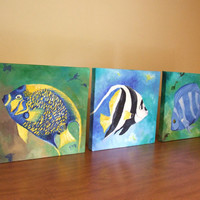 Original Painting SET TROPICAL FISH Three 8x8 Oil on by nJoyArt