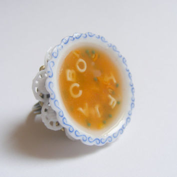 Alphabet Soup Miniature Food Ring  - Miniature Food Jewelry