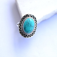 turquoise stone ring, silver ring,  stone ring, silver turquoise ring, 92.5 sterling silver,Christmas ring, Turquoise Silver Ring, RNSLTR206