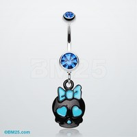 Charming Skull Charm Belly Ring