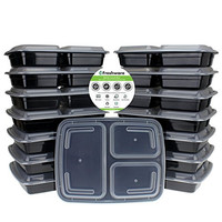 Freshware 15-Pack 3 Compartment Bento Lunch Boxes with Lids - Stackable, Reusable, Microwave, Dishwasher & Freezer Safe - Meal Prep, Portion Control, 21 Day Fix & Food Storage Containers (32oz)