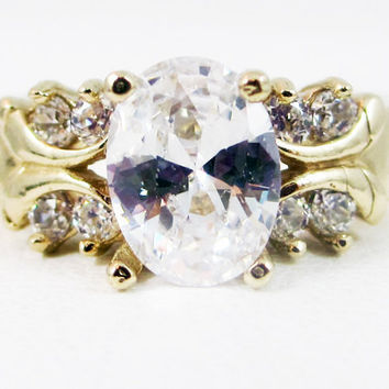 White CZ 14k Yellow Gold CZ Accent Oval Ring, Engagement Ring, 14k Gold Ring, April Birthstone Ring, Multi Stone Ring, CZ Accent Ring