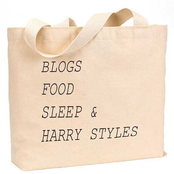"Blogs Food Sleep and Harry Styles Cotton Canvas Jumbo Tote Bag 18""w x 11""h"