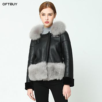 OFTBUY 2018 new Casual winter jacket coat women Double-faced Fur coat With Fox Fur Collar real leather jacket warm Wool Liner