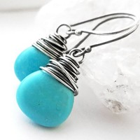 Turquoise Earrings, Sterling Silver December Birthstone Boho Gemstone