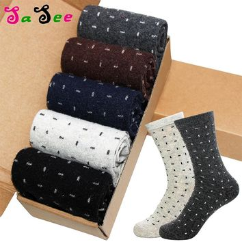 Thick Rabbit Wool Men Socks Autumn Winter Keep Warm Geometric Solid Horizontal Vertical Line Print Foreign Sock Meias Calcetines