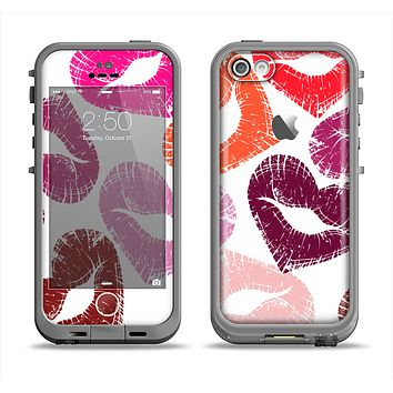 The Vector Puckered Color Lip Prints Apple iPhone 5c LifeProof Fre Case Skin Set