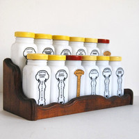 Vintage Griffiths Spice Jar Set Art Deco Milk Glass with Yellow, Red Metal, Wood Rack
