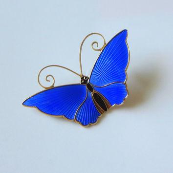 "Cobalt Blue Enamel Butterfly Pin, David-Andersen Norway Sterling, Vintage, Deep Blue Basse-Taille Brooch, Large, 2 1/8"" x 1 1/4"""