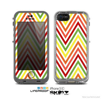 The Yellow & Red Vintage Chevron Pattern Skin for the Apple iPhone 5c LifeProof Case