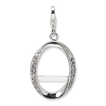925 Sterling Silver Pave Gem Accented Oval Picture Frame Clasp Charm