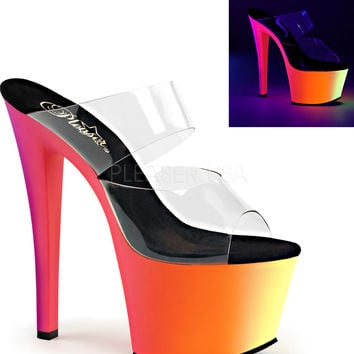 Two-Band Slide Neon Platform 7 Inch Heels-Stripper Shoes