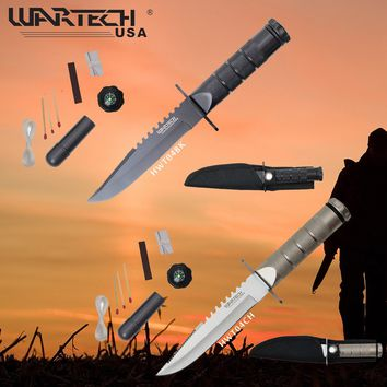 """2Pc Set 8"""" Wartech HWT04BK Series Hunting Knife with Survival Kit Black & Silver"""