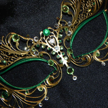 Masquerade Mask - Metal Mask with Green Accents