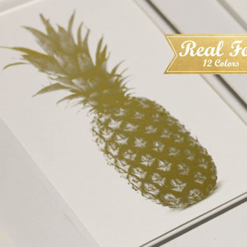 Real Gold Foil Print With Frame (Optional) - Golden Pineapple