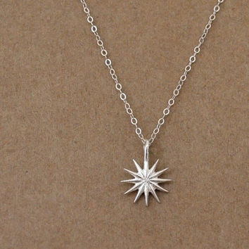 Women'  jewelry, sterling silver sun charm, simple, layer necklace