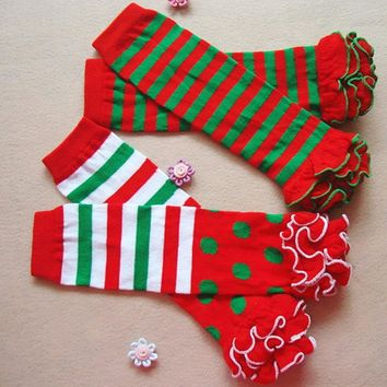 Adorable Children Girls Cute Ruffles Stocking Baby Leg Warmers Two-color Striped Dot Christmas Tight Stocking