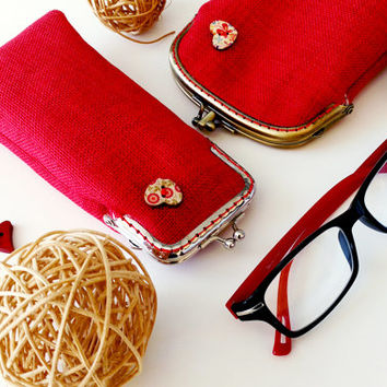 Valentine's Red Eyeglasses Case - Reading glasses Case - Upholstery fabric - Kiss Lock Silver Frame