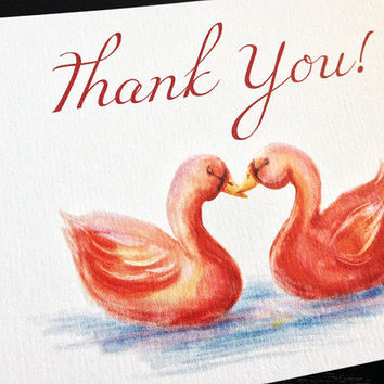"Watercolor Wedding Thank You Card - Greeting Card - Thank You Gift Card ""Swan Love"" Wedding Ceremony Thank You Note - Thank You Stationery"