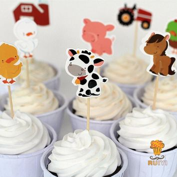 24 pcs/lot Farm Animal Theme Party Supplies Cartoon Cupcake Toppers Pick Kid Birthday Party Decorations supplies