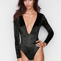 Crushed Velvet Plunge Bodysuit - Victoria's Secret