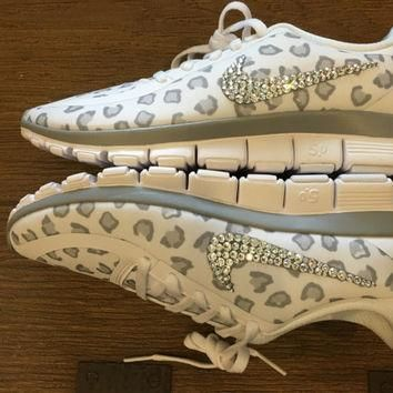 Blinged Out Women's White Nike Free Run 5.0 V4 Leopard Cheetah Print Running Shoes Cus