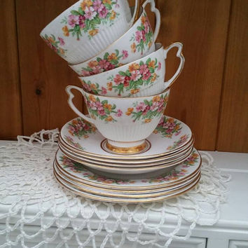 ASHLEY Fine bone china trio x4 / pretty bone china tea set/vintage 24ct gold trimmed tea set / kitch / retro tea party