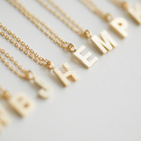 Initial Necklace in Silver or Gold_personalized necklace, custom necklace, monogram necklace, bridesmaid necklace, alphabet, initial