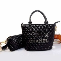 CHANEL Women Fashion Shopping Leather Chain Satchel Tote Shoulder Bag Handbag Two Piece Set