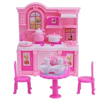 Furniture Set Dining Table Cabinet for Barbie Dolls Accessories Doll House Decor Girls Toys