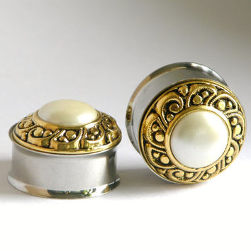 Classic Gold nd Pearl Wedding Plugs 5/8 3/4 7/8 Inch 16mm 19mm 22mm