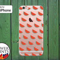 Red Watermelon Slice Pattern Fruit Cute Summer Tumblr Clear Rubber Phone Case for iPhone 5/5s and 5c and iPhone 6 and 6 Plus + and iPhone 6s