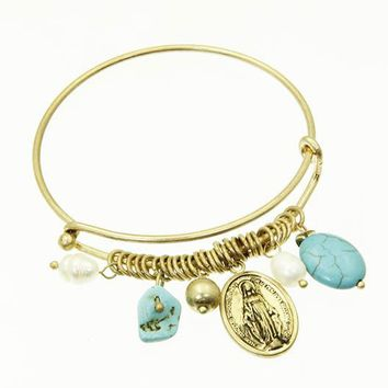 Turquoise Immaculate Conception Bangle Bracelet