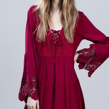 Berry Bell Sleeve Dress