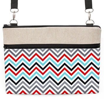 "11"" Laptop Cross Body Bag, 13 inch MacBook Crossbody, Laptop Zipper Case, 13"" Laptop Travel Case - blue, black, red, grey chevron"