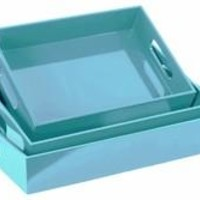 Elegant Serving Tray with Cutout Handles- Set of three- Blue- Benzara