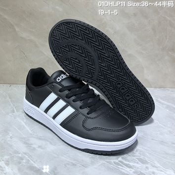 HCXX A527 Adidas NEO Low Leather Casual Skate Shoes Black White