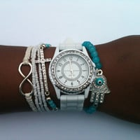 White and Turquoise Stack Set of 5 Arm Candy Bracelets Watch Included