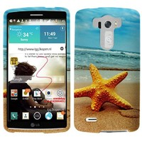 Rubberized Plastic Beach Starfish Hard Cover Snap On Case For LG G3 + Free Car Charger (Accessorys4Less)