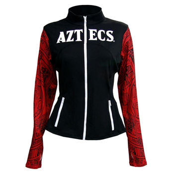 San Diego State Aztecs NCAA Womens Yoga Jacket (Aztec Calendar) (Black) (Medium)