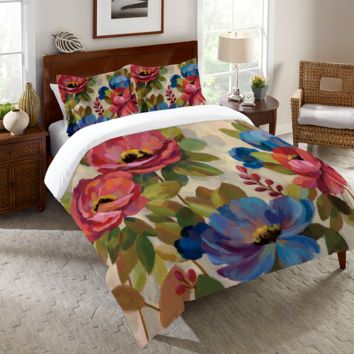 Coral and Blue Flowers Duvet Cover