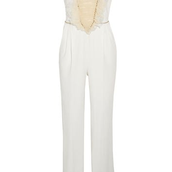 Alessandra Rich - Ruffled tulle and stretch-silk crepe jumpsuit