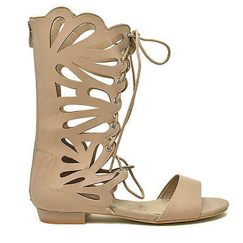 Caren01 by Forever, Taupe Gladiator Sandal Butterfly Cutout Lace Up Open Toe Women New