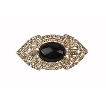 Art Deco Brooch, Faceted Black Glass