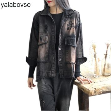 Trendy Yalabovso 2017 Newest  Autumn Emboidery Punk Styles Woman's Denim Jacket Patchwork Loose Hole Vintage Loose Coat A74-515665 z20 AT_94_13