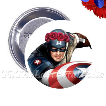 Hipster Princess Captain America - Your Choice of 2-1/4 inch Pinback Button, Pocket Mirror, or Bottle Opener Keychain