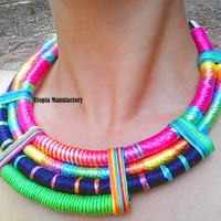 Rope Statement Necklace, African Rope Necklace, Ethnic Statement Necklace, African Bib Necklace, Tribal African Jewelry