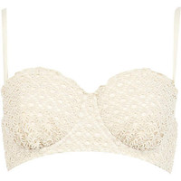 Cream crochet balconette bikini top - bikinis - swimwear / beachwear - women