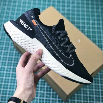 Off White X Nike Epic React Flyknit Sport Running Shoes - Best Online Sale