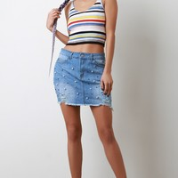 High Waisted Pearl Accent Raw Cut Mini Denim Skirt